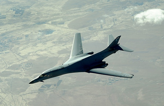 A B-1B Lancer flies a combat patrol mission over Afghanistan in support of Operation Enduring Freedom. The B-1B is assigned to the 34th Expeditionary Squadron and provides close-air support throughout Southwest Asia. U.S. Air Force photo Staff Sgt. Aaron Allmon - RELEASED.