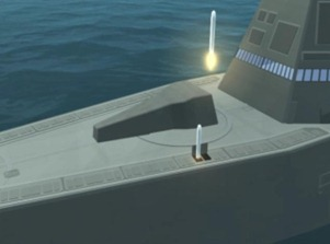 Cruise missiles enter their boost stage from vertical launch weapons bays aboard the DDG 1000 and are vectored towards land and sea based targets.
